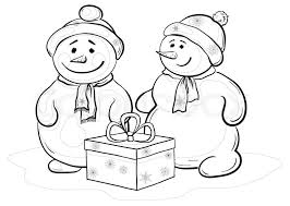 christmas cartoon snowmens children gift box contours