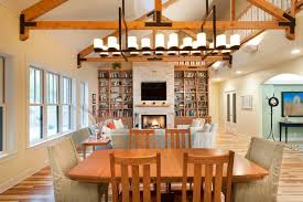linear chandelier dining room contemporary with bookcase