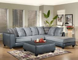 Gray Leather Ottoman Grey Fabric Sectional Sofa W Leather Base U0026 Optional Ottoman
