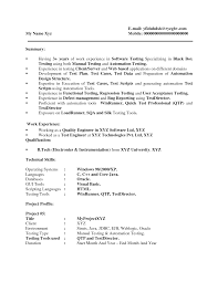 Sample Resume For Qa Tester by Qtp Sample Resume For Software Testers Free Resume Example And