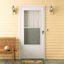 emco 100 series 32 in white self storing storm door e1ss 32wh at