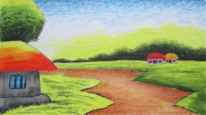 easy scenery drawing with color for kids drawing of sketch