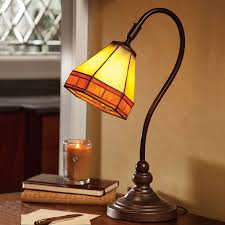 tiffany style stained glass mission desk lamp the green head