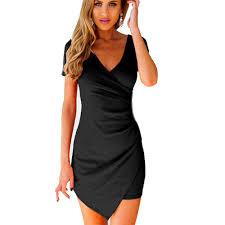 women slim fitted bodycon mini dress wrap dress evening party