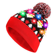 beanie with led lights amazon com christmas holiday pom beanie led light up hat junior