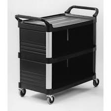 rubbermaid service cart with cabinet rubbermaid x tra cart 3 sides
