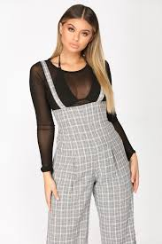 overall jumpsuit powered plaid overall jumpsuit grey