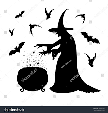 black silhouette scary witch who cooks stock vector 493031893