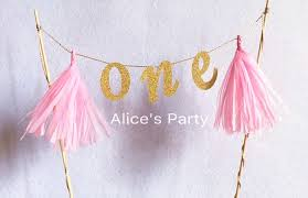 one cake topper new arrival handmade giltter gold one cake topper bunting pink