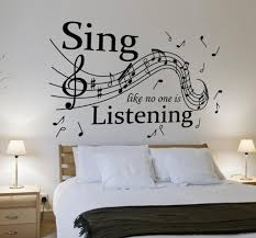 32 music notes car laptop wall fridge vinyl wall sticker v c designs ltd tm sing like no one is listening music quote large statement