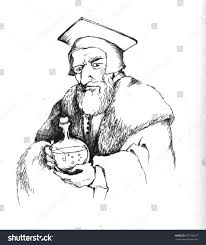 hand made drawing medieval alchemist white stock illustration