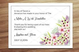 wedding favor donation card template card templates creative