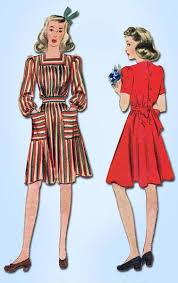 1930s vintage mccall sewing pattern 4002 pretty wwii girls dress