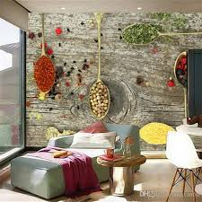 coffee shop background design custom 3d mural wallpaper spices spoon food wallpapers restaurant