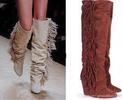womens boots knee high leather tassel fringe suede leather boots thigh high knee boots