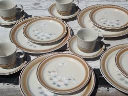 watercolors stoneware dishes set for 4 retro hearthside japan