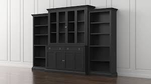 Bookcase With Doors Black Cameo 4 Bruno Black Glass Door Wall Unit With Open Bookcases