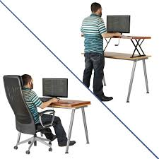 com halter manual adjule height table top sit stand desk cherry office s