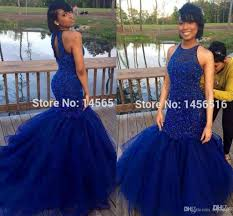 royal blue prom dresses 2016 back mermaid hard beadings