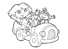 dora in car coloring pages for kids printable free coloing 4kids com