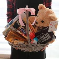chocolate baskets teddy and chocolate basket flower gift korea 240 5