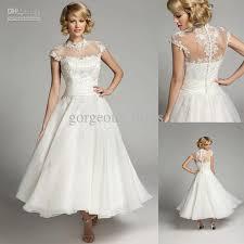tea dresses wedding sweetlwhite a line tea length closed back applique