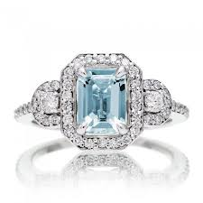 aquamarine and diamond ring cut aquamarine engagement ring diamond halo three band