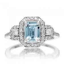 aquamarine wedding rings cut aquamarine engagement ring diamond halo three band