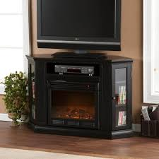 corner tv stand with glass doors furniture terrific electric fireplace ideas with solid black