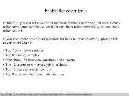 Resume For Teller Bank Teller Cover Letter