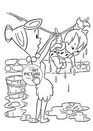 washed coloring pages kids printable free flintstones