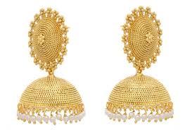 gold jhumka earrings design buy jfl traditional ethnic antique one gram gold plated designer