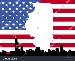 Chicaho Flag Map Illinois On American Flag Chicago Stock Vector 4090339