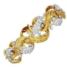 gold leaf bracelet images Retro diamond gold platinum leaf bracelet for sale at 1stdibs jpg