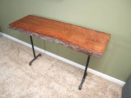console table with live edge cherry slab and black iron pipe diy
