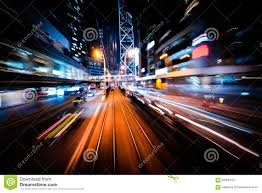modern city motion blur hong kong abstract cityscape traffic