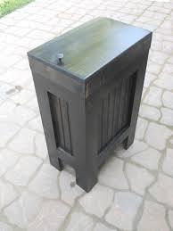 Kitchen Trash Can Ideas Wood Wooden Kitchen Garbage Can Trash Bin Ebony By Buffalowoodshop