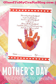 Kids Handprint Crafts Handprint Mother U0027s Day Poem Printable Glued To My Crafts