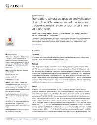 Sho Acl translation and cross cultural adaptation pdf available