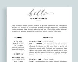 1 Page Resume Templates One Page Resume Etsy