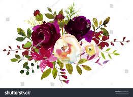 burgundy flowers watercolor boho burgundy white floral stock illustration