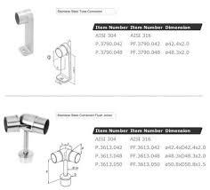china stainless steel elbow handrail flush joiner balustrade