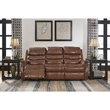 signature design by ashley metcalf nutmeg power reclining sofa