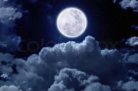 beautiful midnight sky with bright moon and above