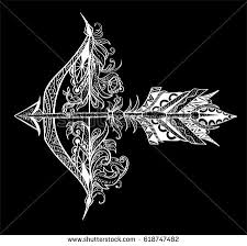 arrow feather bow archery graphic patterns stock vector 412571596