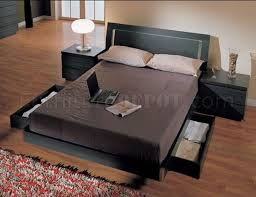 ash finish contemporary bedroom set with storage bed