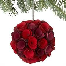 wood curl kissing ball crate and barrel christmas decorations