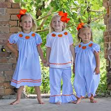 pumpkin smocked long bubble light blue stripe smocked auctions
