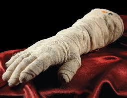 crawling halloween mummy hand the green head