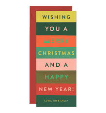 merry stripes yellow personalized greetings by rifle paper co